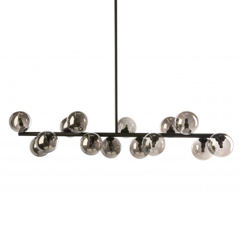 Modern Black 14 Light Horizontal Bar Pendant Light