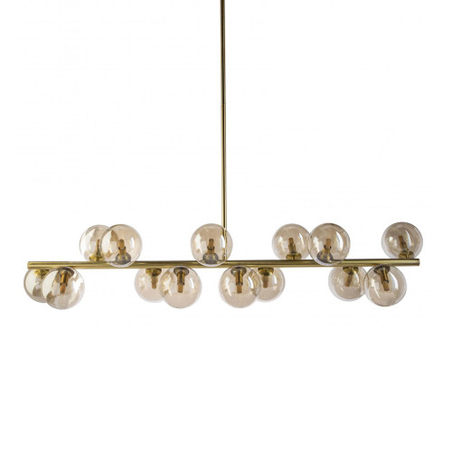 Modern Gold 14 Light Horizontal Bar Pendant Light