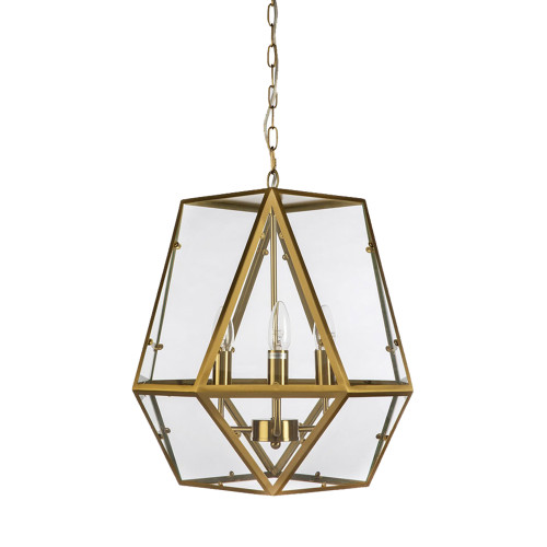Gabbia 3 Light Gold Glass Pendant Light
