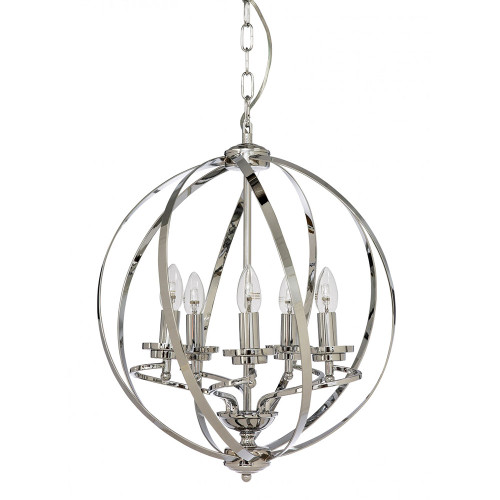 Round Orb 5 Light Chrome Pendant Chandelier