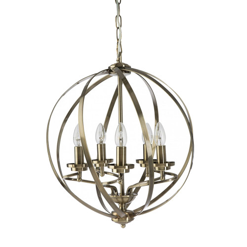 Round Orb 5 Light Bronze Pendant Chandelier