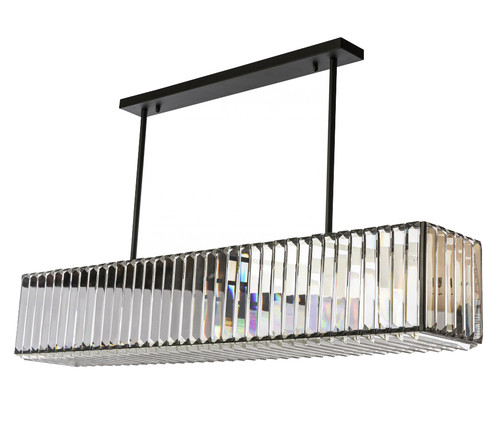 Modern 7 Light Cystal Bar Pendant Light - Black