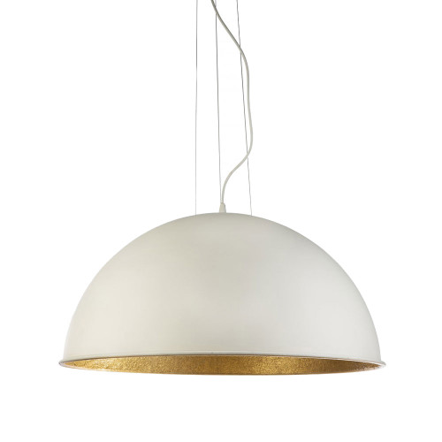 Modern Dome White Gold 3 Light Pendant Light