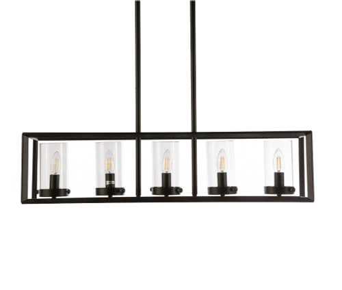 Sarto 5 Light Black Bar Pendant Light