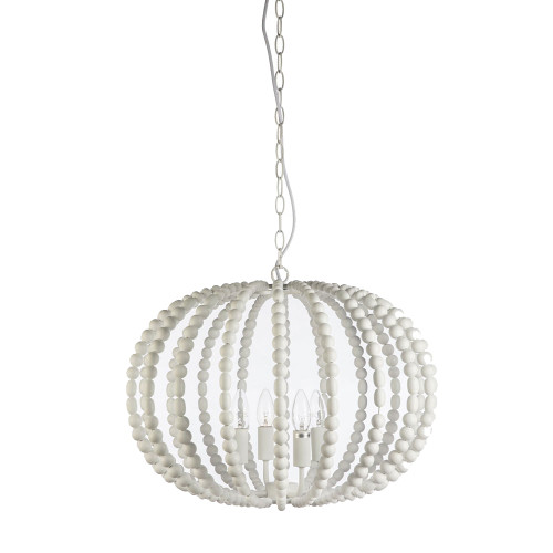 Oval White Beaded Pendant Chandelier