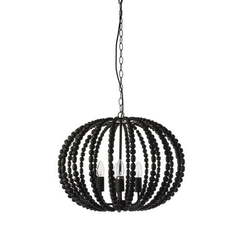 Oval Black Beaded Pendant Chandelier