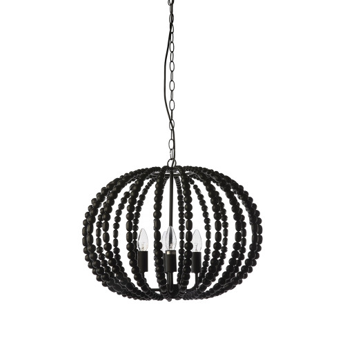 Oval Black Beaded Pendant Chandelier