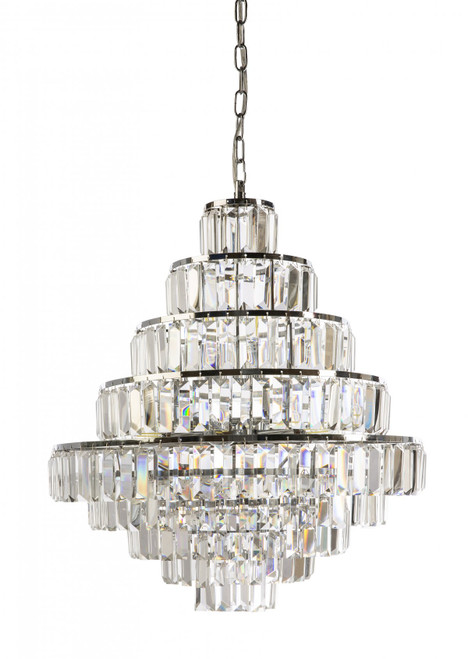 Pyramid 17 Light Chrome Crystal Chandelier