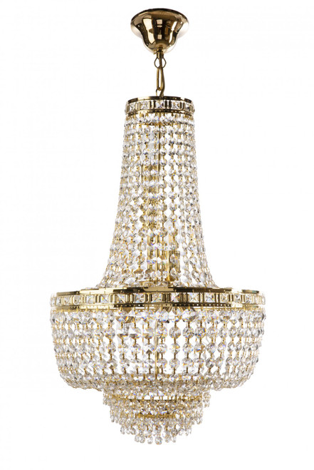Imperio 6 Light Italian Crystal Gold Chandelier