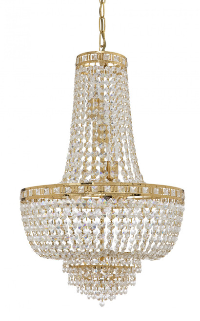 Imperio 7 Light Italian Crystal Gold Chandelier