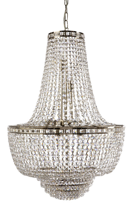 Imperio 11 Light Italian Crystal Chrome Chandelier