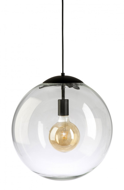 Simple Round Glass Pendant Light - Black