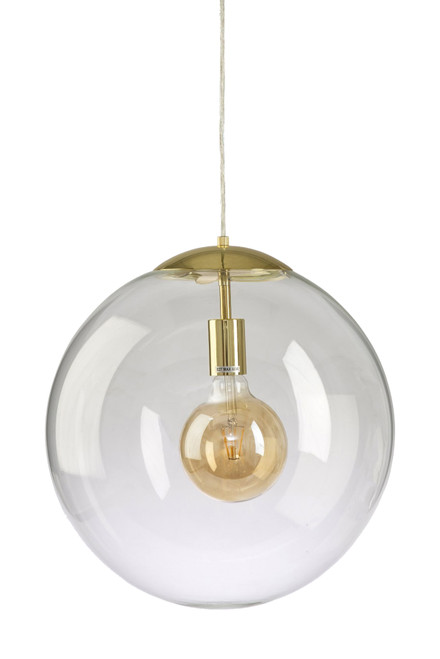 Simple Round Glass Pendant Light - Brass