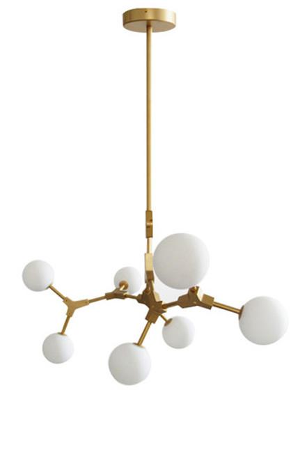Vintage 7 Head Brass Branching Pendant Light