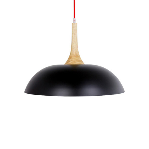 Nordic Wood Top Metal Pendant Light - Red Cord - Black