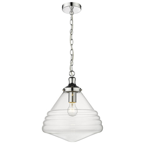 Space Schoolhouse Chrome Clear Pendant Light