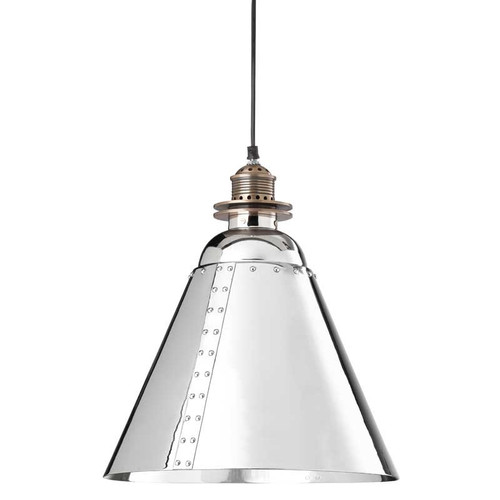 Ironside Vintage Chrome Brass Cone Pendant Light