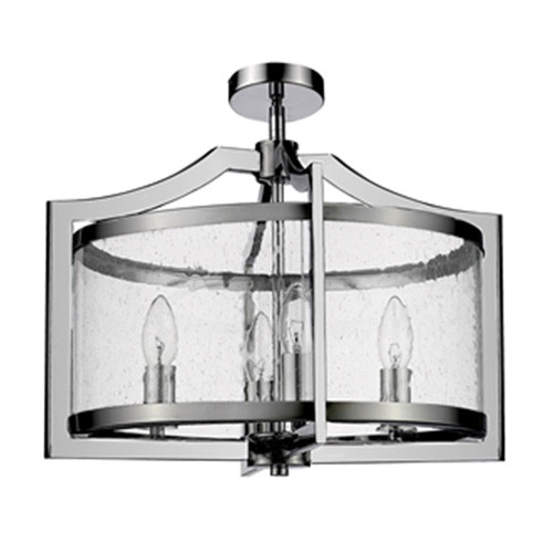 Grand 4 Light Chrome Glass Close to Ceiling Light