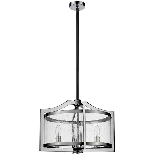 Grand 4 Light Chrome Glass Pendant Light