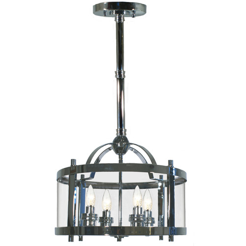 Castle 4 Light Chrome Lantern Pendant Light - 12' Rod