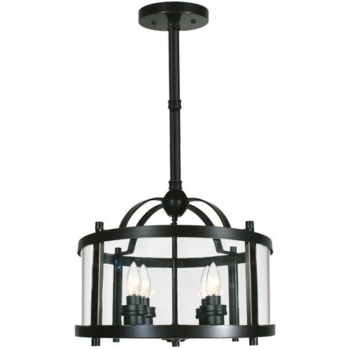 "Castle 4 Light Bronze Lantern Pendant Light - 12"" Rod"