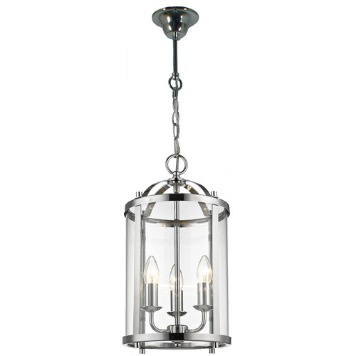 Manor 3 Light Chrome Lantern Pendant Light