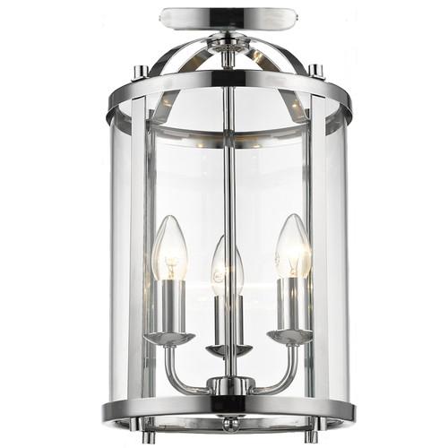 Manor 3 Light Chrome Close to Ceiling Lantern