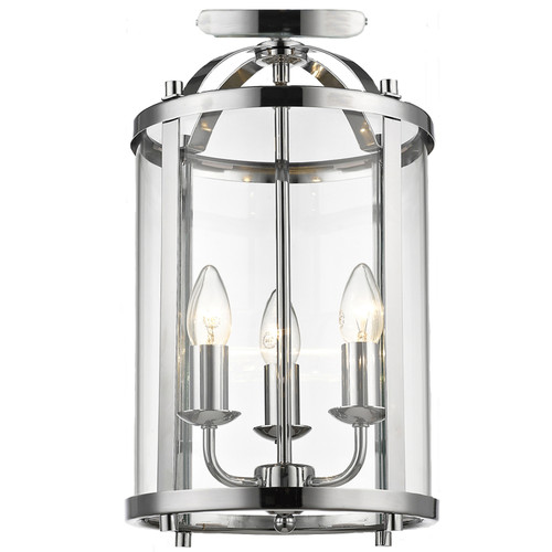 Manor 3 Light Chrome Close to Ceiling Lantern