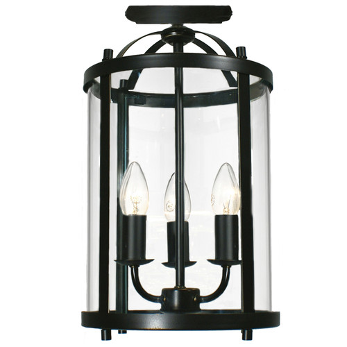 Manor 3 Light Bronze Close to Ceiling Lantern