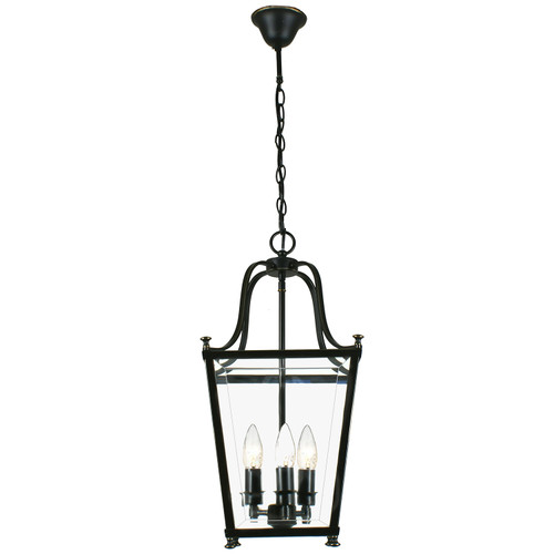Montana 3 Light Bronze Glass Lantern Pendant