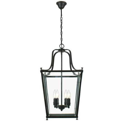 Montana 4 Light Bronze Glass Lantern Pendant