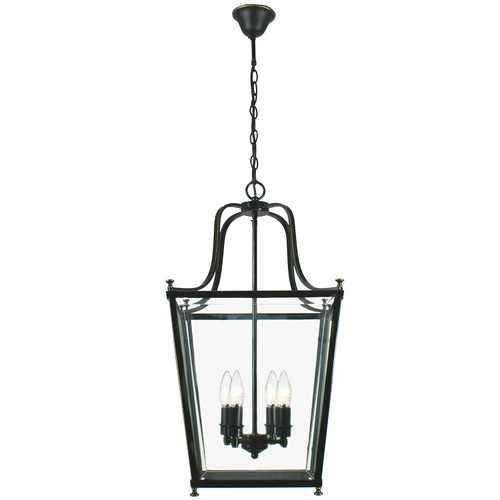 Montana 4 Light Bronze Glass Lantern Pendant