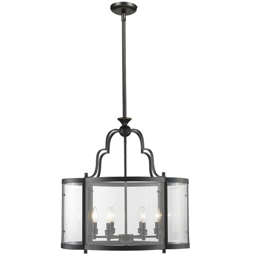 Fort 6 Light Bronze Curved Glassware Pendant Light