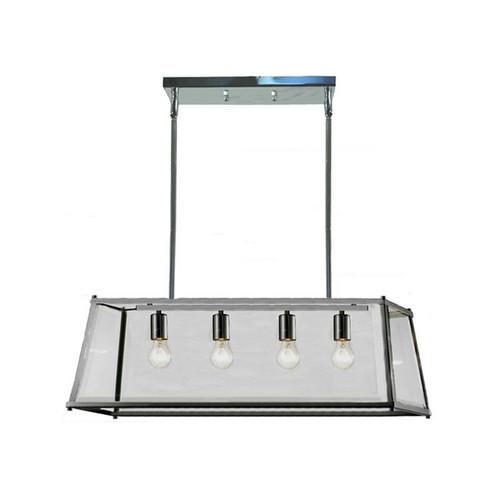 Citadel 4 Light Chrome Glass Bench Lantern Pendant