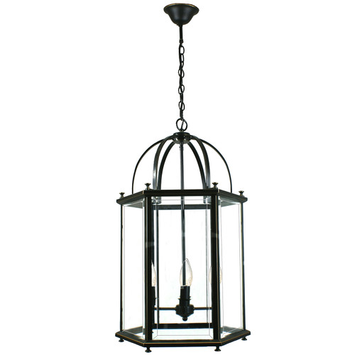 Country 4 Light Bronze Lantern Pendant