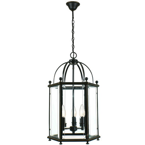 Country 3 Light Bronze Lantern Pendant