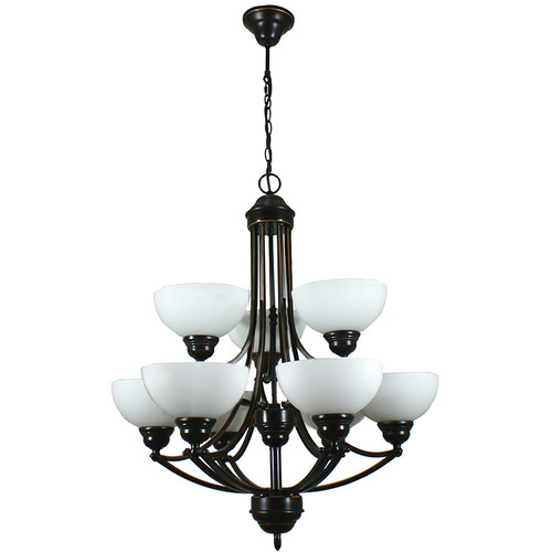 Houston 9 Light Bronze Pendant Chandelier