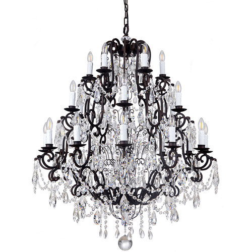 Salzburg 24 Light Bronze Crystal Pendant Chandelier