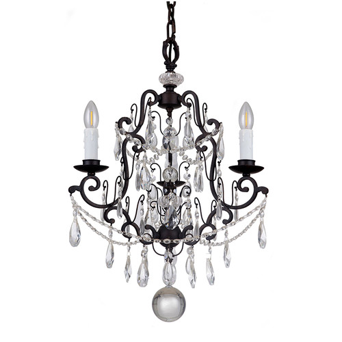 Salzburg 3 Light Bronze Crystal Pendant Chandelier