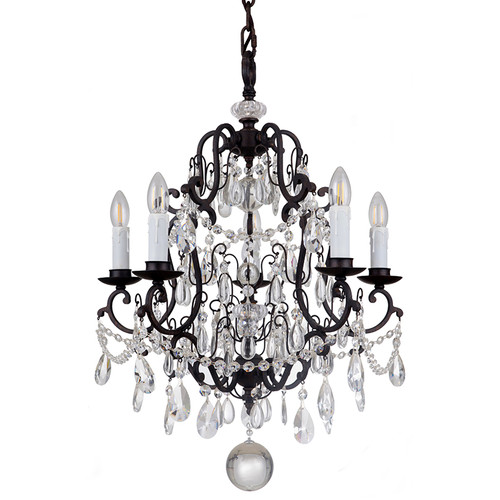 Salzburg 5 Light Bronze Crystal Pendant Chandelier