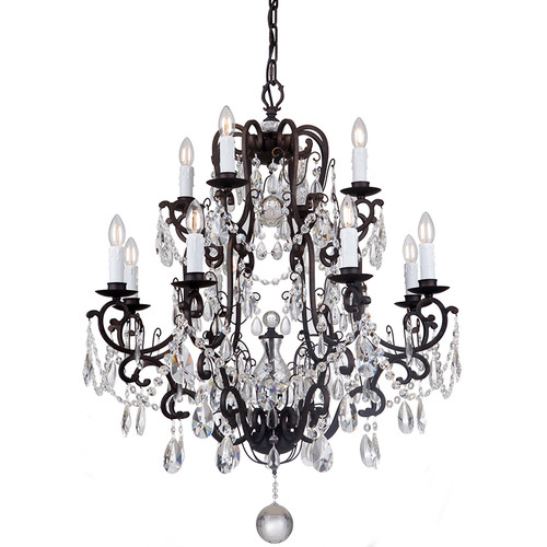 Salzburg 12 Light Bronze Crystal Pendant Chandelier