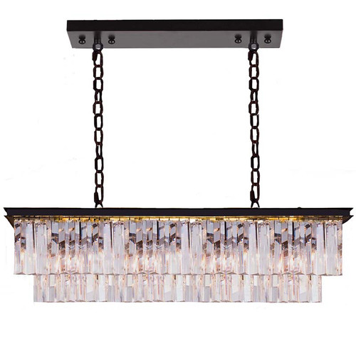 Ode Bench 12 Light Bronze Crystal Pendant Chandelier