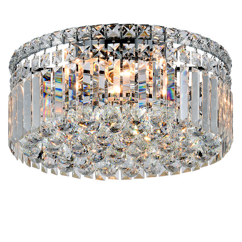 Rotondo Flush Chrome Crystal Close to Ceiling Light
