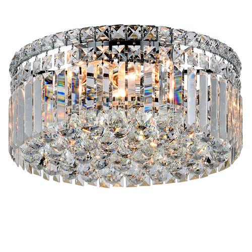 Rotondo Flush Chrome Crystal Close to Ceiling Light