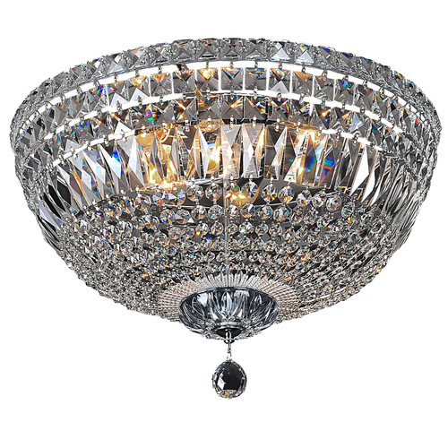 Classique Flush Chrome Crystal Close to Ceiling Light
