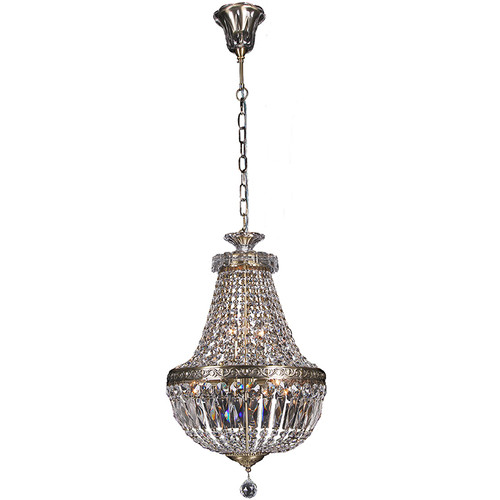 Le Empire Basket Antique Brass Crystal Chandelier