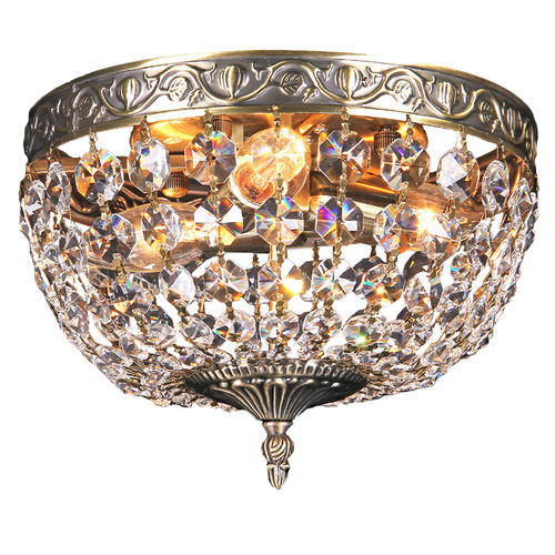 Le Antique Brass Crystal Close to Ceiling Light