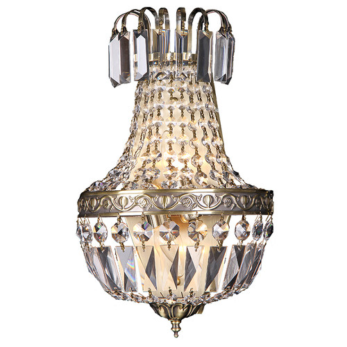 Le Antique Brass Crystal Wall Light