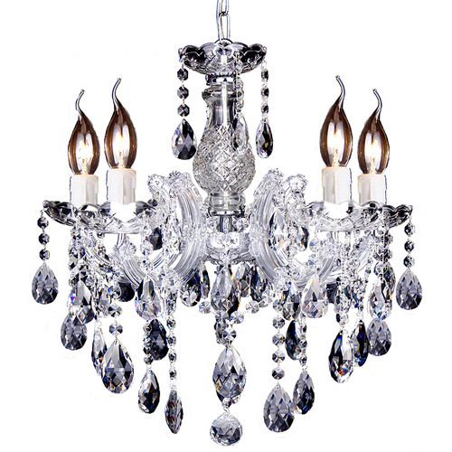 Zurich 5 Light Chrome Crystal Drops Chandelier