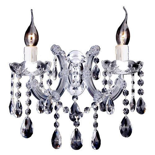 Zurich 2 Light Chrome Crystal Drops Wall Light